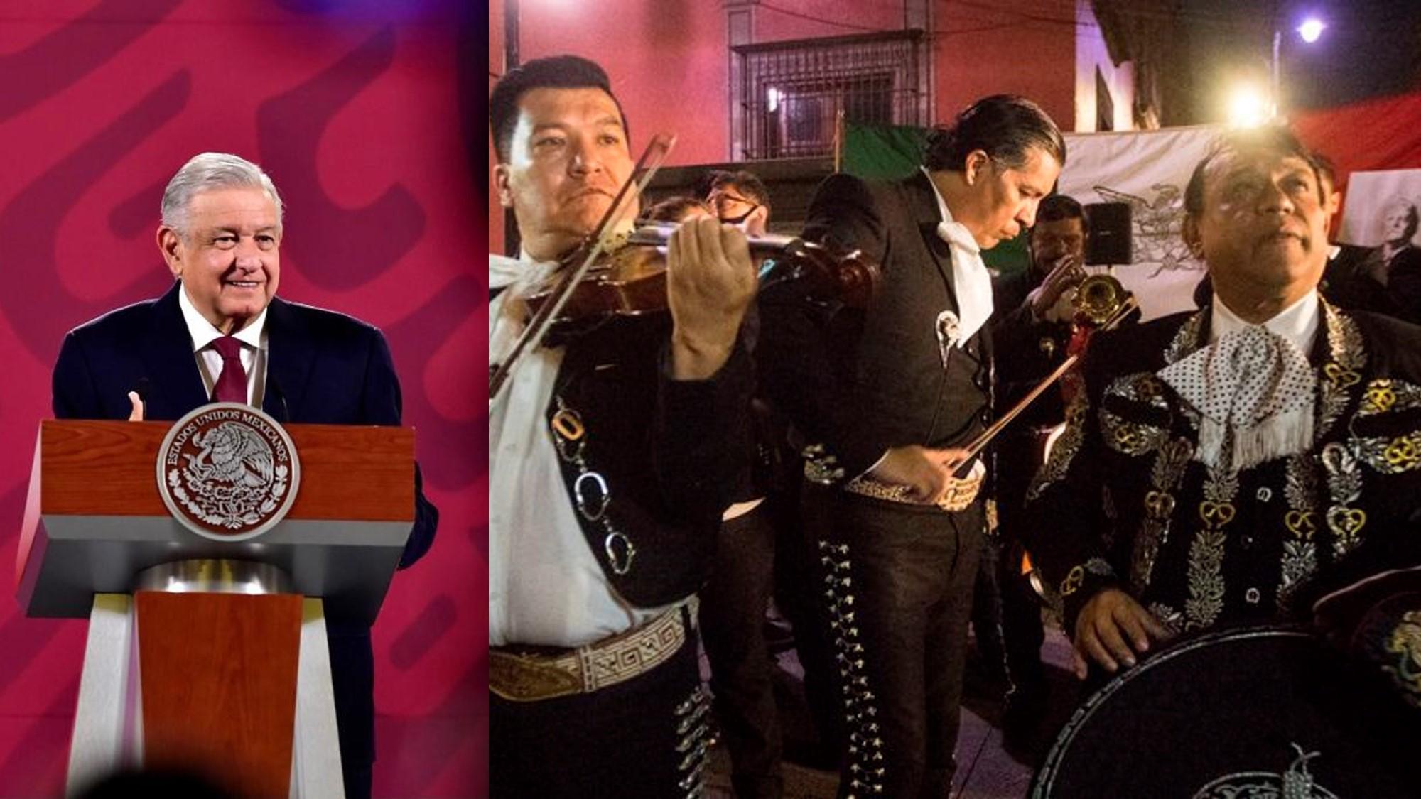 """AMLO agradece serenata en Palacio Nacional: """"Así como me quieren, yo los quiero más"""""""